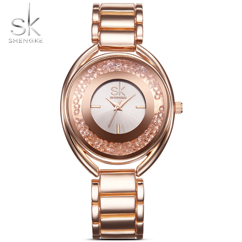 2017 Watch Women SK Simple Small Round Dial Rose Gold Quartz Women Water Resistant Watches for Ladies