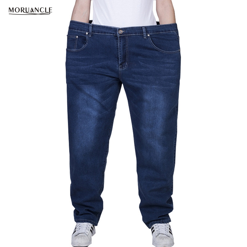 MORUANCLE New Men&39;s Plus Size Jeans Pants Stretchy Denim Trousers For Big And Tall Super Size 27-48 Blue Black