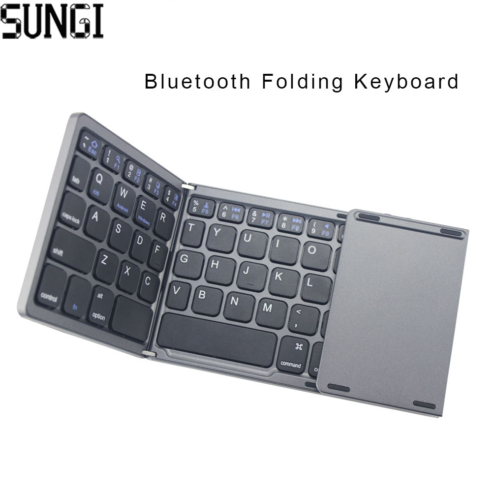 Ultra Ince Mini Bluetooth 3.0 Katlanabilir Klavye Kablosuz Touchpad Klavye Ile Katlanır BT Tablet PC Laptop ipad Mobilephone Için